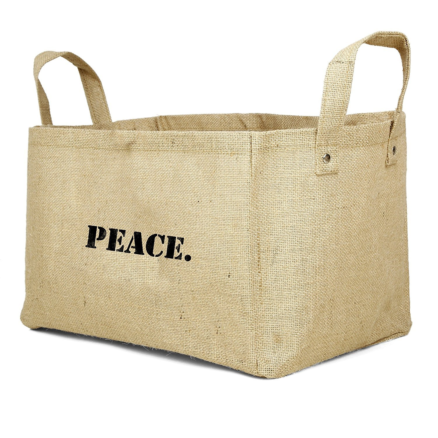 Large collapsible jute peace basket with handles for storage - a lovely example of an everyday object that works hard and functions while elevating moods with a positive message.