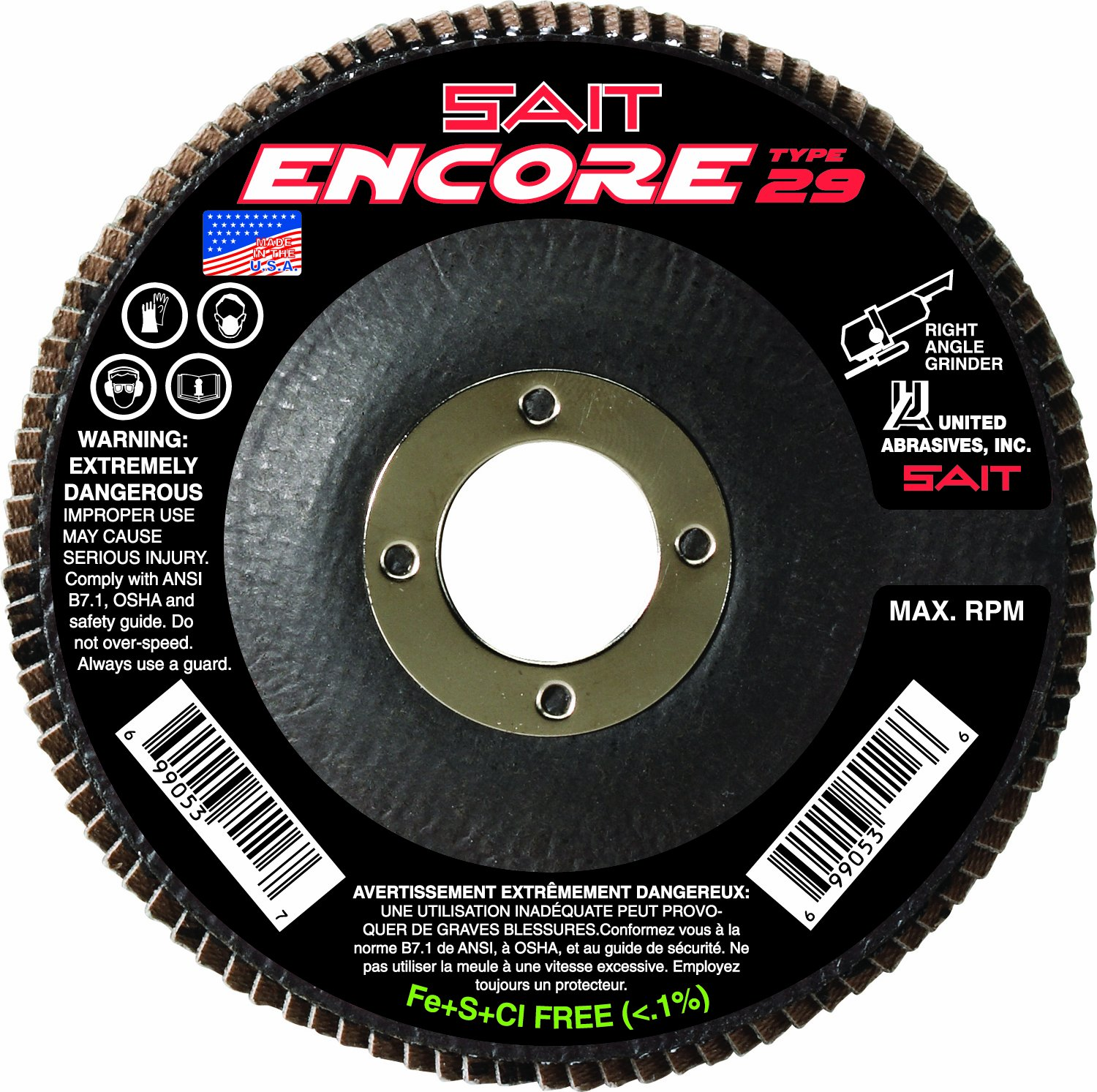 United Abrasives- SAIT 79105 Encore Type 29 Flap Disc, 4-1/2 X 7/8 Z 36X, 10 Pack