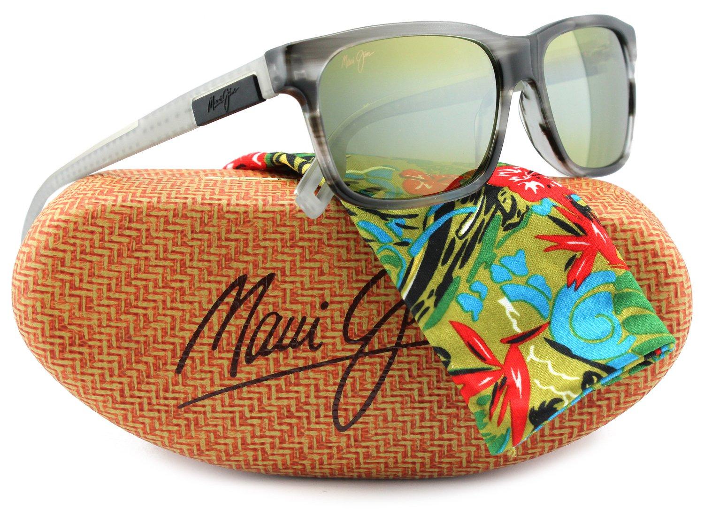Maui Jim MJ284-27L Eh Brah Sunglasses Light Charcoal w/ Green 284-27L 55mm Authentic