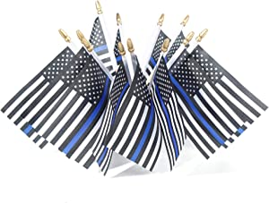XCFH 25 Pack Thin Blue Line Police Small Mini American Flag on Wooden Stick Police Blue Lives Matter Flag Honoring Law Enforcement Officers Flags (25pack)