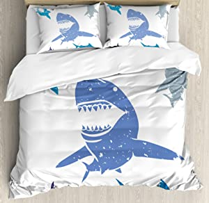 Ambesonne Shark Duvet Cover Set, Grunge Style Big and Small Sharks with Open Mouths Predator Jaws Dangerous Image, Decorative 3 Piece Bedding Set with 2 Pillow Shams, Queen Size, Blue