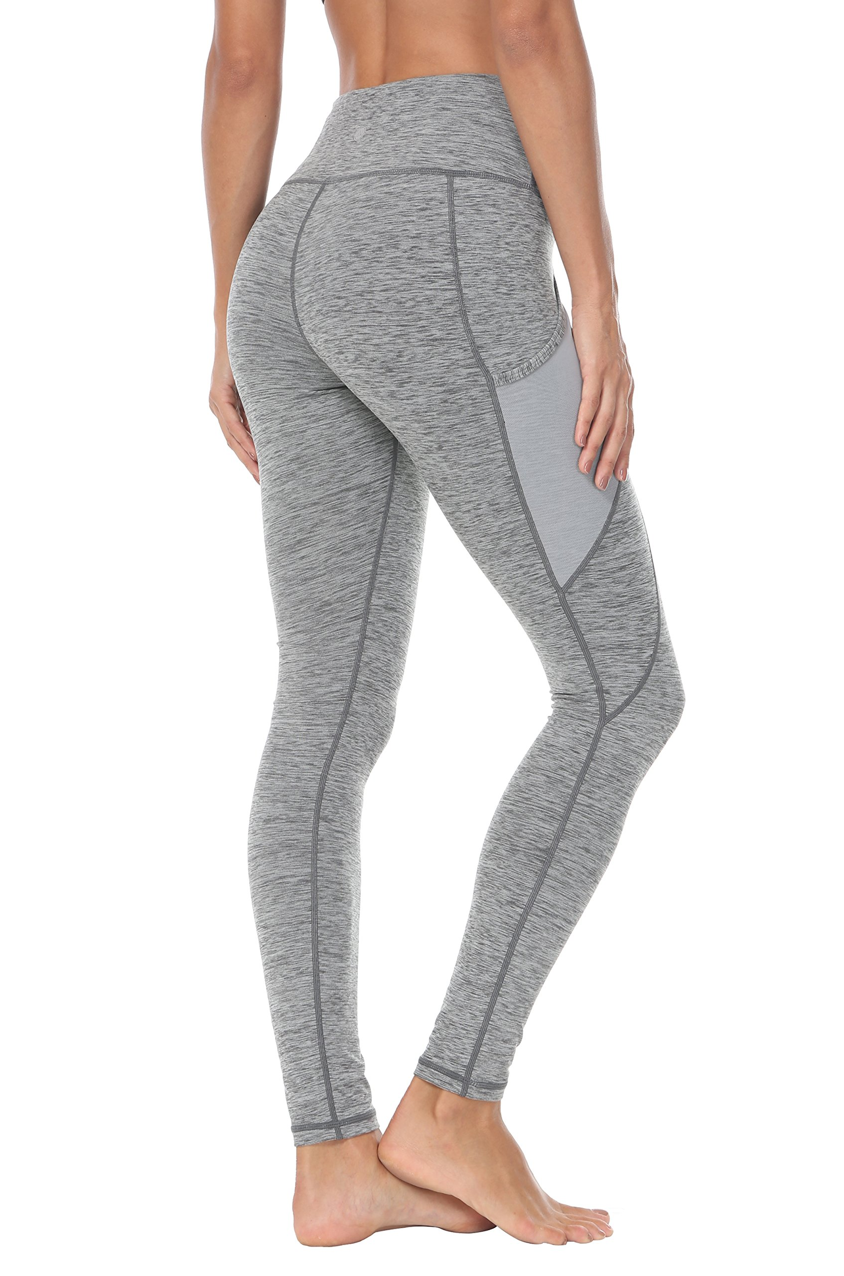 110de083348ee Queenie Ke Women Yoga Leggings Power Flex Mesh Mid-Waist 3 Phone Pocket Gym  Running