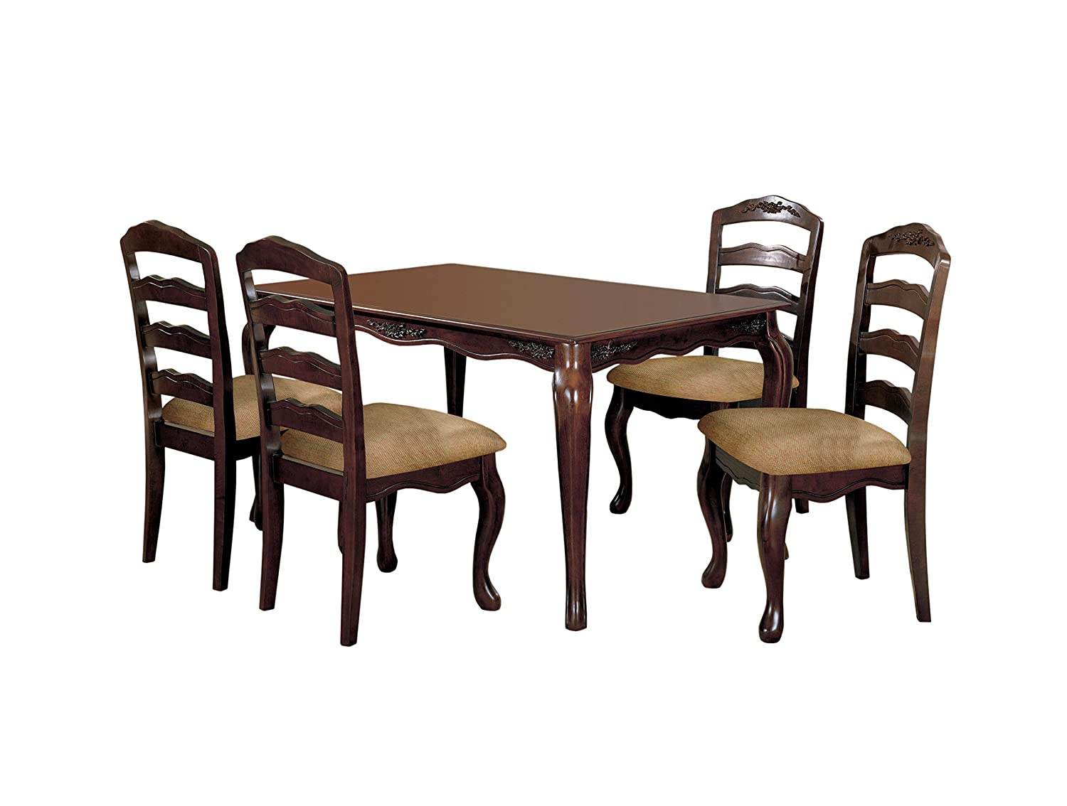 "HOMES: Inside + Out Kathryn 5 Piece Classic Style Dining Table Set with 18"" Expandable Leaf, Dark Walnut"