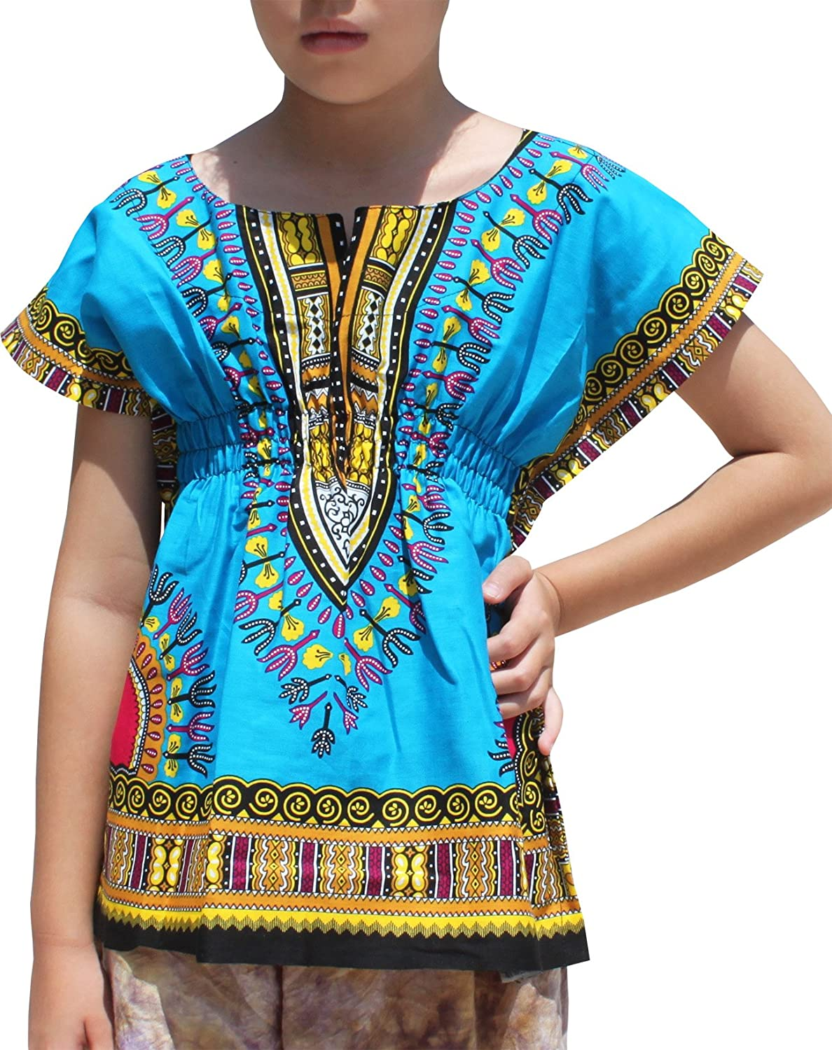 RaanPahMuang Childs African Dashiki Festival Bright Cotton Open Collar Shirt CA_AMZvariant17900MDL