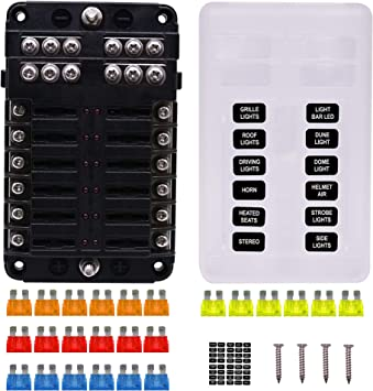 faylapa fuse blocks with led indicator, st blade fuse box screw nut  terminal, 12 circuits with negative bus fuse box for dc 12-24v automotive  car marine boat - - amazon.com  amazon.com
