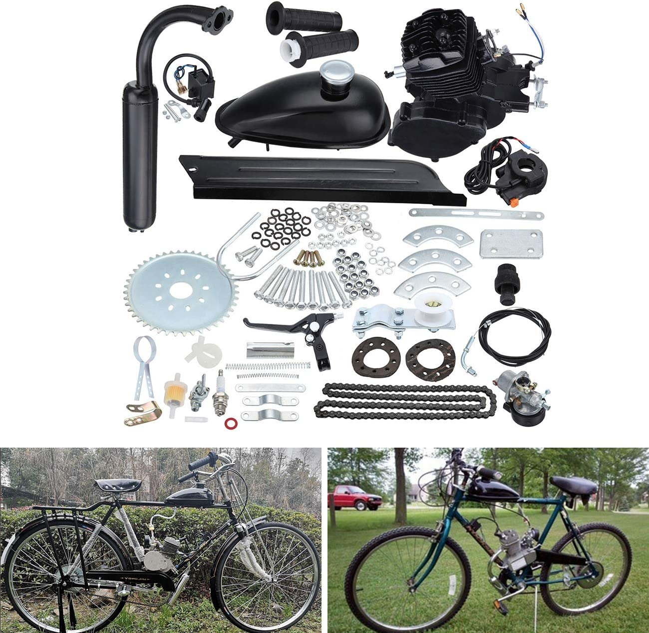Ambienceo Motor Bicicleta Conversión Kit para Bicicleta Motorizada (80cc Negro): Amazon.es: Deportes y aire libre