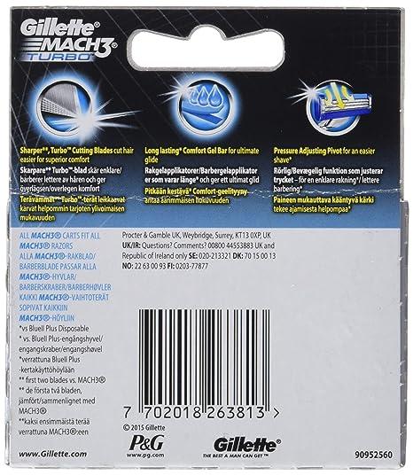 Gillette mach 3 turbo - Cuchillas de recambio para maquinilla de afeitar (4 unidades): Amazon.es: Salud y cuidado personal