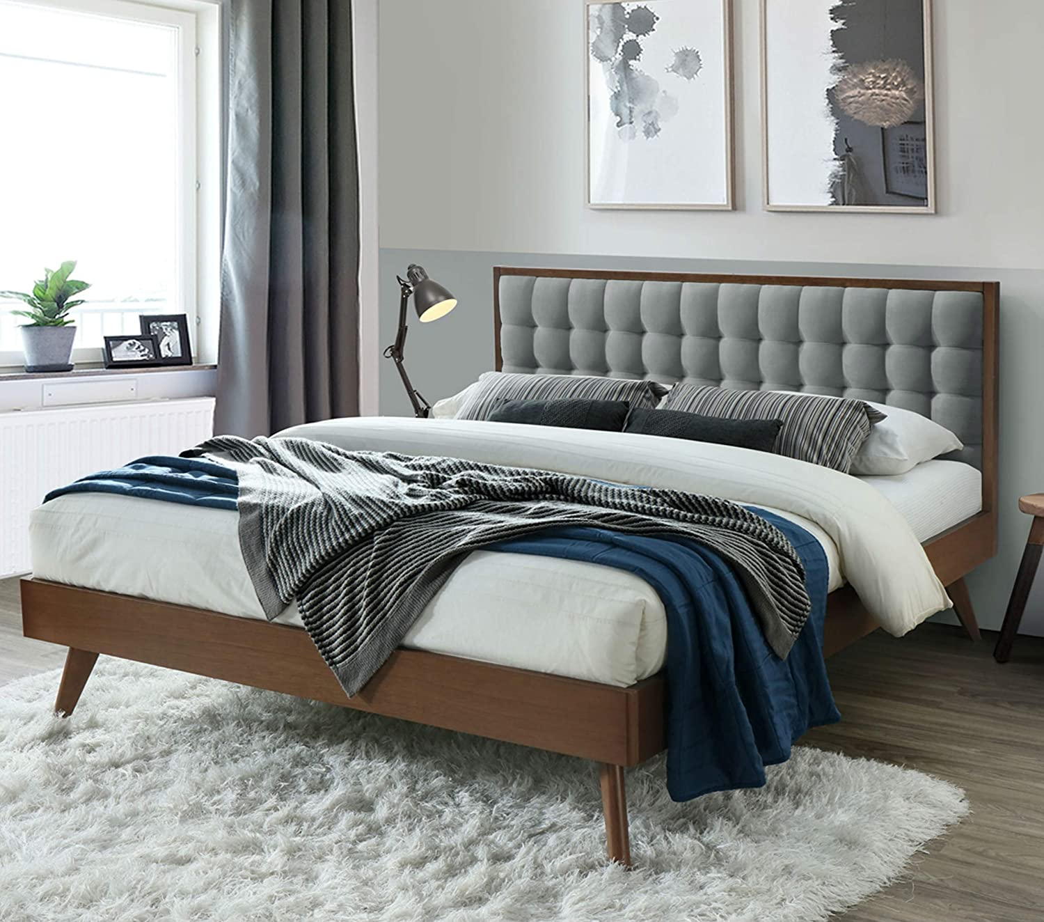 Gold Glass Dining Table, Amazon Com Dg Casa Soloman Mid Century Modern Tufted Upholstered Platform Bed Frame Queen Size In Gray Fabric Furniture Decor
