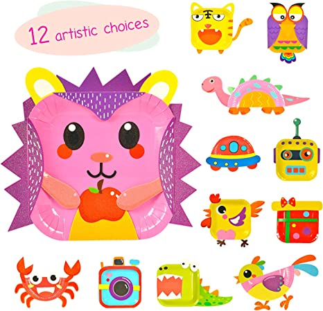 Groups and The Classroom VINMEN 10 Pcs Paper Plate Art Kit for Kids Toddler Children Crafts Art Toys-Transform Simple Paper Plates into Friendly Animals Perfect for Craft Parties