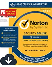 Norton Security Deluxe – Antivirus software for 5 Devices with Auto Renewal, Requires Payment Method – 1 Year Pre-Paid Subscription [PC/Mac/Mobile Download]