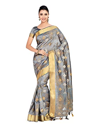 71dd312dfc Mimosa Raw Silk saree uppada Style With Blouse light weight official wear  saree (4361-2345-SD-GREY): Amazon.in: Clothing & Accessories