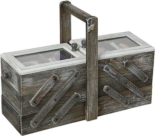 iDiffusion - Caja de Costura (Madera, Escalera, 43 x 28 cm), Color Gris: Amazon.es: Hogar