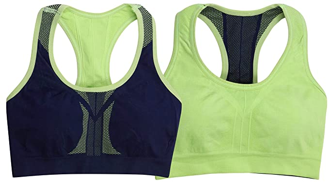 the latest ecb5a 5bcb2 ToBeInStyle Sports Bra for Women - Reversible Racerback Double Layered  Compression (Medium, Neon Green