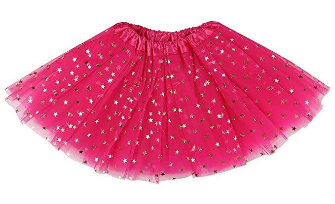 Simplicity Girls Tutu 4 Layered Tulle Dress-up Princess Fairy Tutu Skirt,Rose