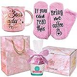 "VINAKAS Boss Lady Gift Set - 12oz Gold Pink Ceramic Marble. Boss Mug Reads"" BOSS LADY"" - Funny gifts for women"