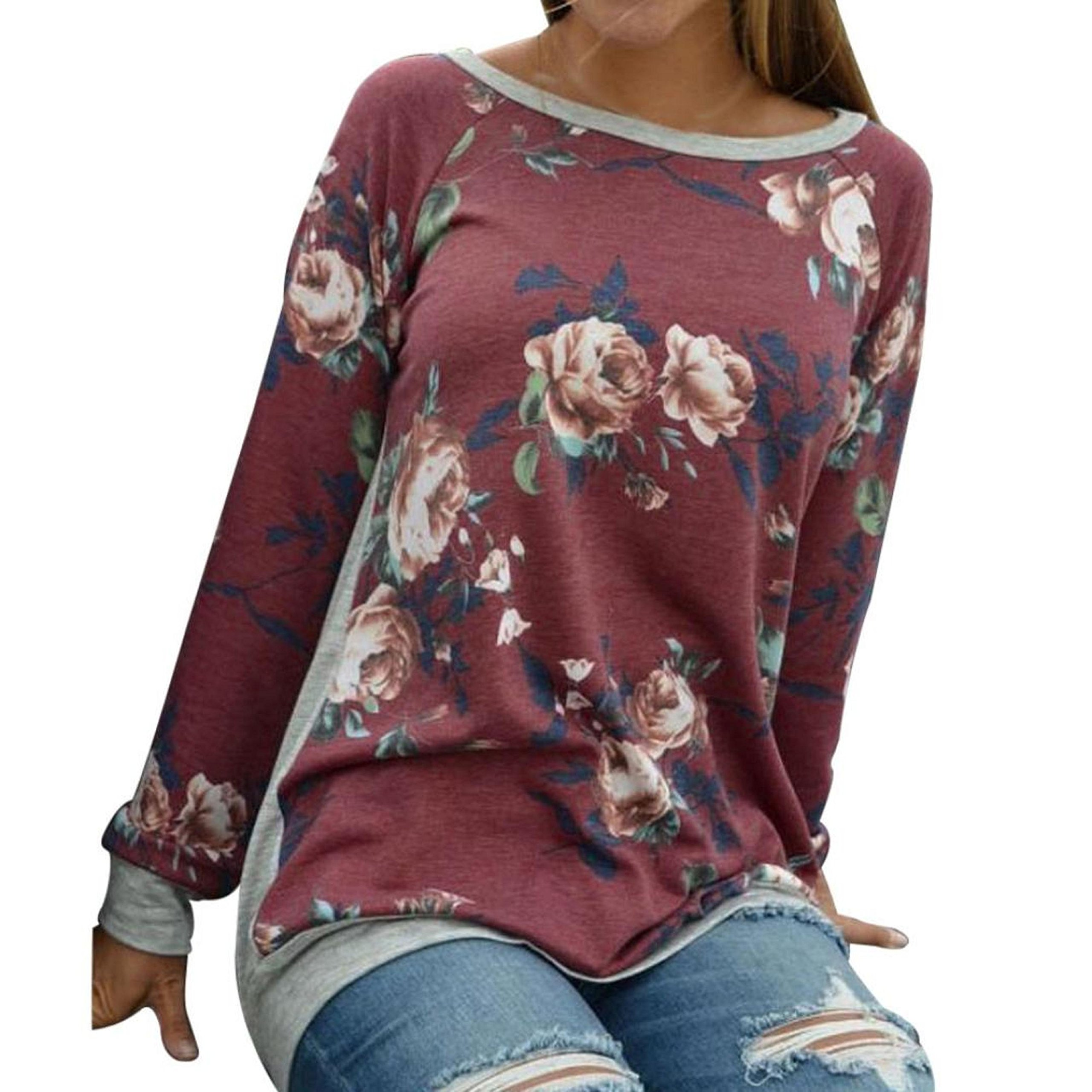 PPBUY Women Autumn Floral Printing Long Sleeve Shirt Casual Top Blouse (XL, Red) by PPBUY (Image #1)