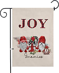 QICI Christmas Garden Flag - Happy New Year Decoration Front Door Outside Flags - Vertical Double Sided Burlap Yard Outdoor Decor 28 x 40 Inches