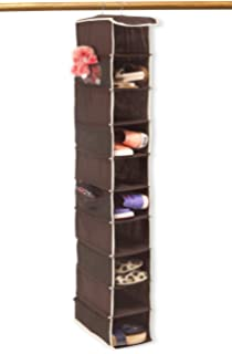 10 Shelves Hanging Shoes Organizer Holder For Closet W/ 10 Pockets, Brown