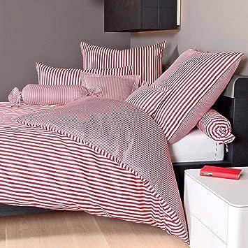 Janine Design Streifen Bettwäsche Modern Classic Dunkelrot
