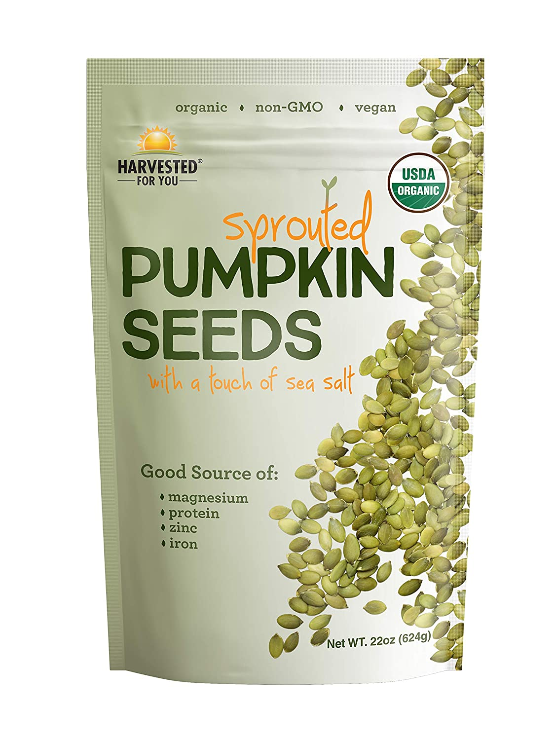 Harvested For You Sprouted Pumpkin Seeds with Sea Salt 22oz Bag, Non GMO, Keto Snacks, Paleo, Gluten Free, Vegan, Organic, Plant Based, High Protein, Whole 30, Low Glycemic Index, Peanut Free Facility