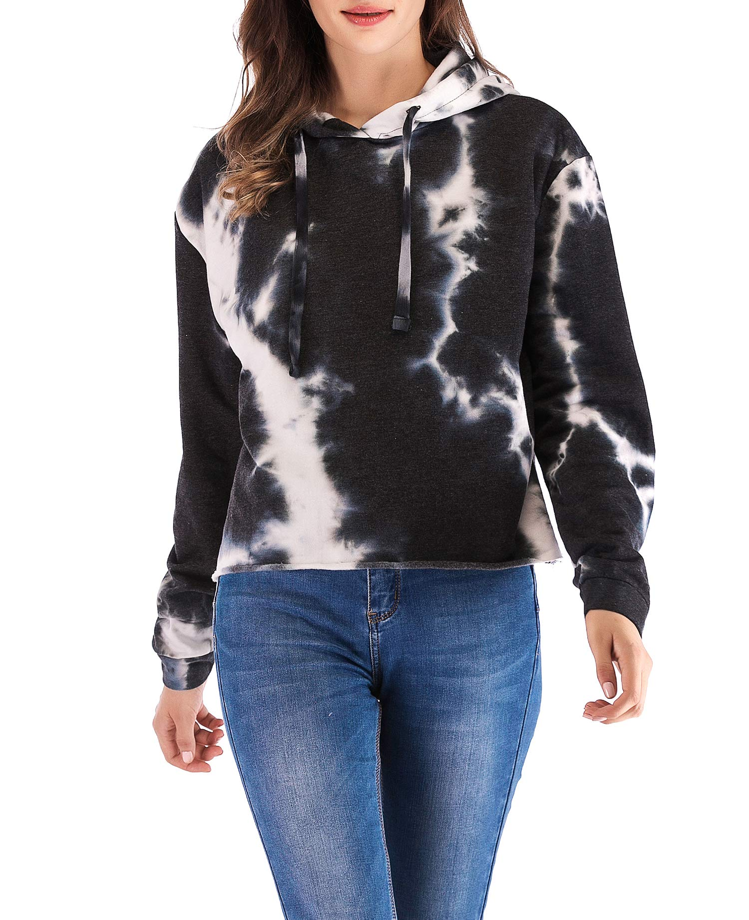 Eanklosco Womens Casual Long Sleeve Tie Dye Hoody (Black, L)