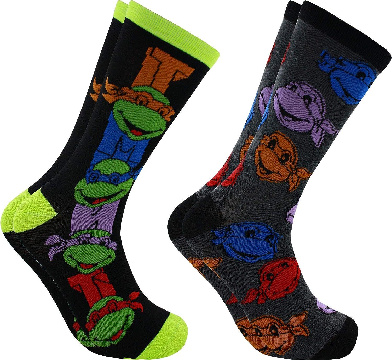 Teenage Mutant Ninja Turtles TMNT Faces 2-Pack Men's Casual Socks, 6-12