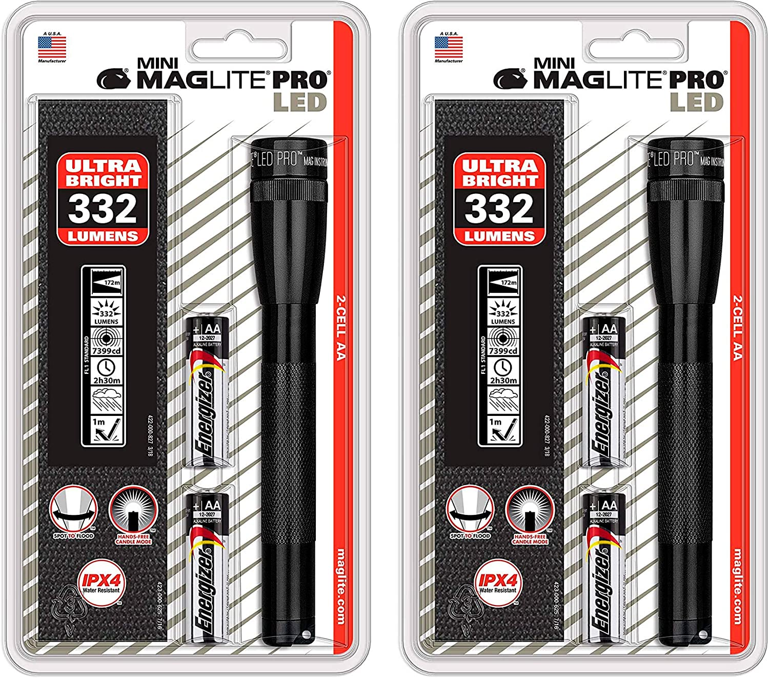 Maglite Mini PRO LED 2-Cell AA Flashlight with Holster Black 2 Pack SP2P01H