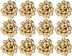 The Gift Wrap Company 12 Count Decorative Metallic Confetti Bows, Large, Gold