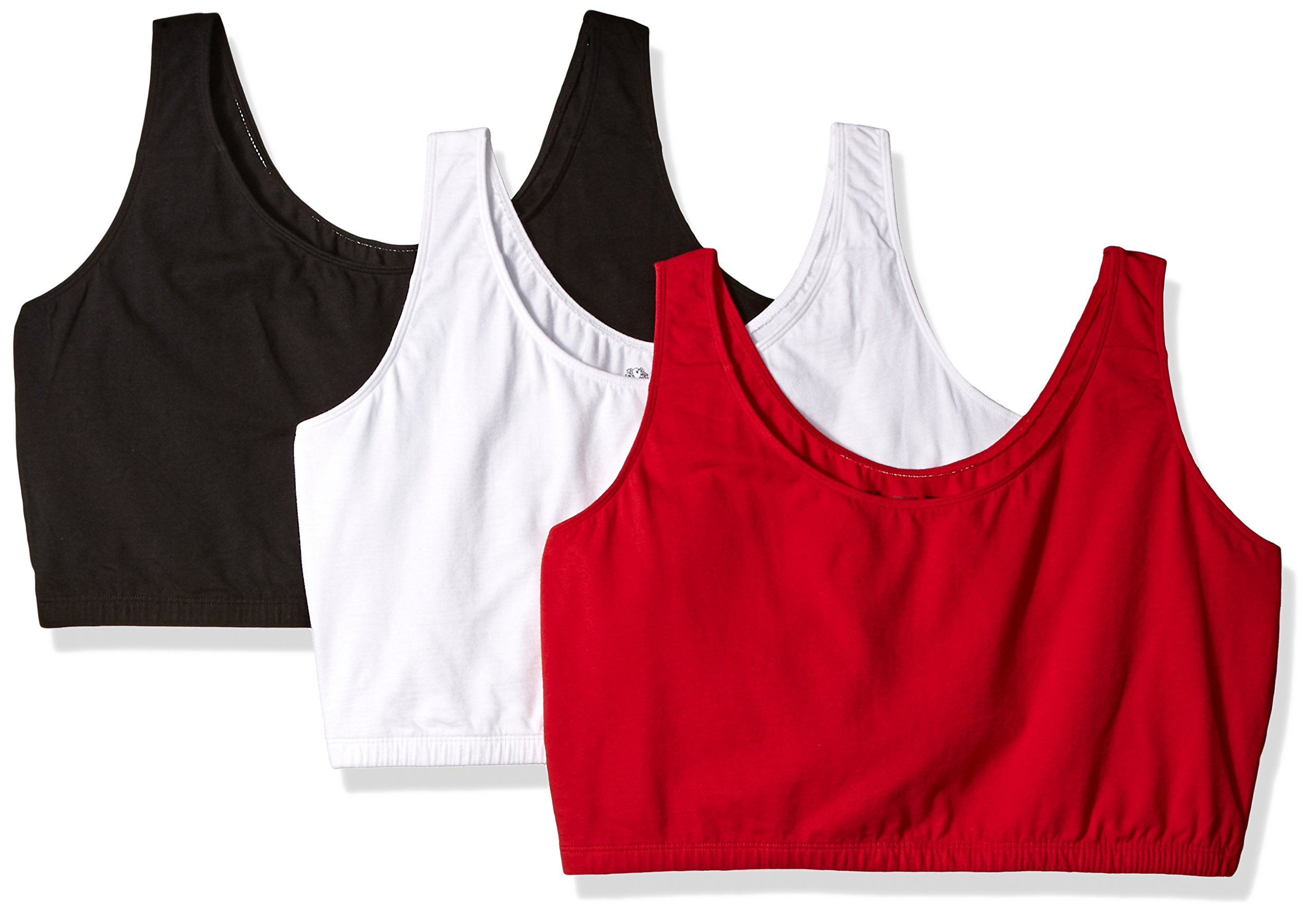 Fruit of the Loom Women's 3 PR Built-Up Sportsbra, Red Hot/White/Black, Size 44 by Fruit of the Loom