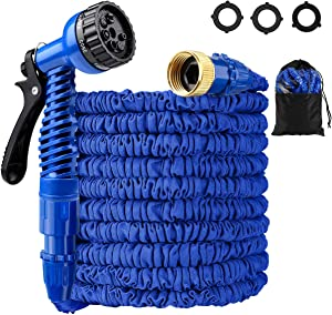Expandable Garden Hose Kit, LOKMAN 25ft Stretchable Flex Water Hose with 7 Function Nozzle and 3/4'' Solid Brass Fittings. Flexible Lightweight Shrink Hose for Outdoor Garden Lawn Car Plants. (25ft)