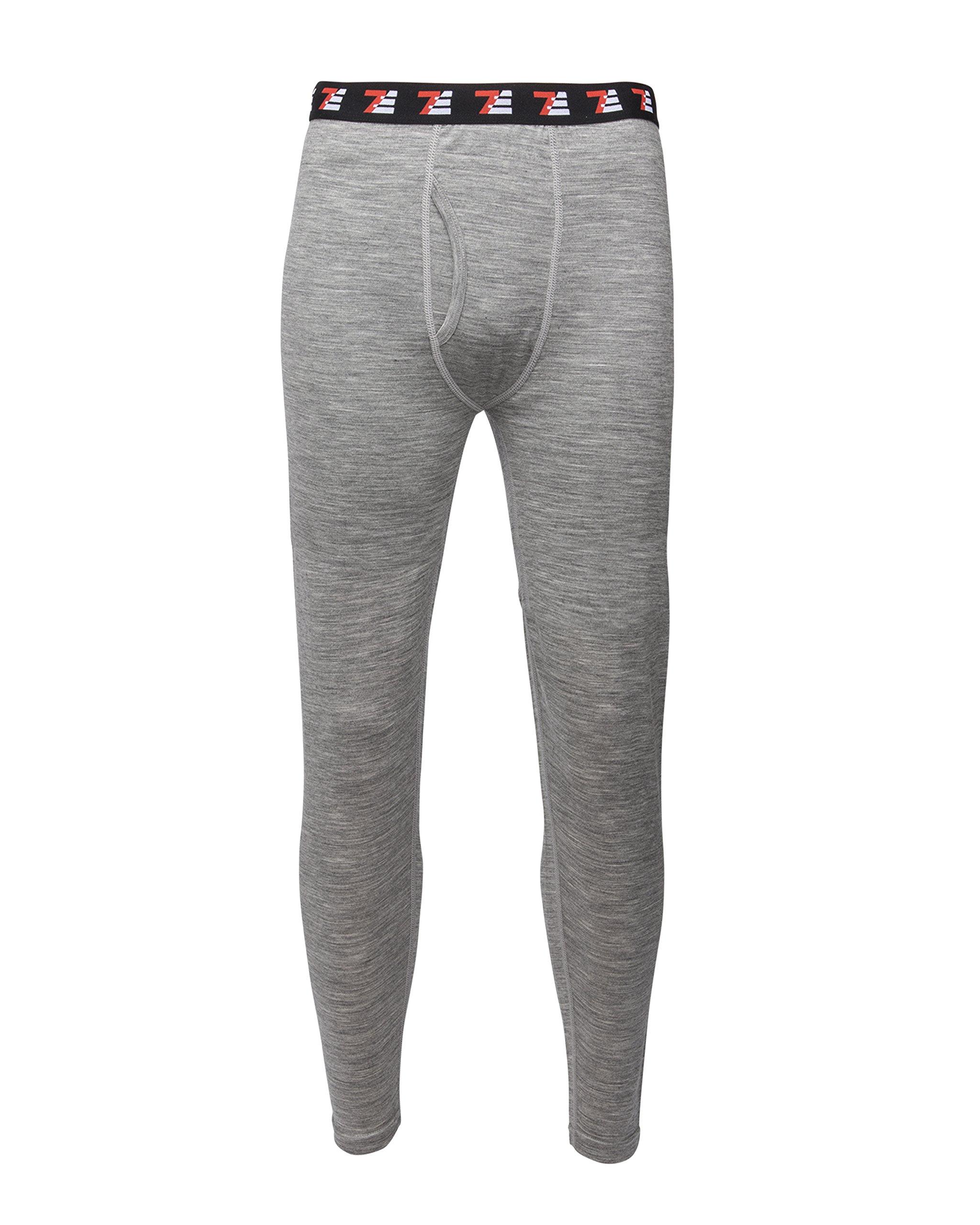 7EVEN 100% Merino Wool Mens Base Layer Bottom (Grey, XL)