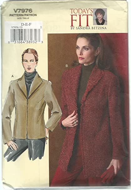 Amazon Vogue Sewing Pattern V60 Misses Today's Fit Jacket By Adorable Pattern Def