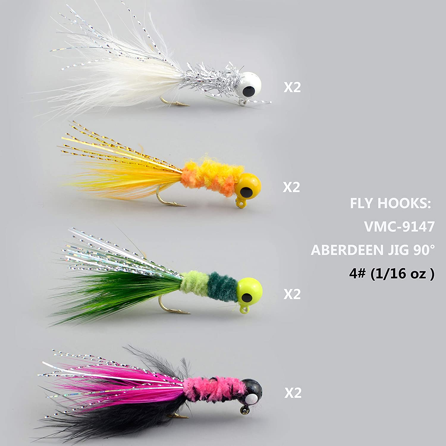 4 pack sickle hook 1//32 oz hand tied crappie jigs teaser tail trout panfish bass