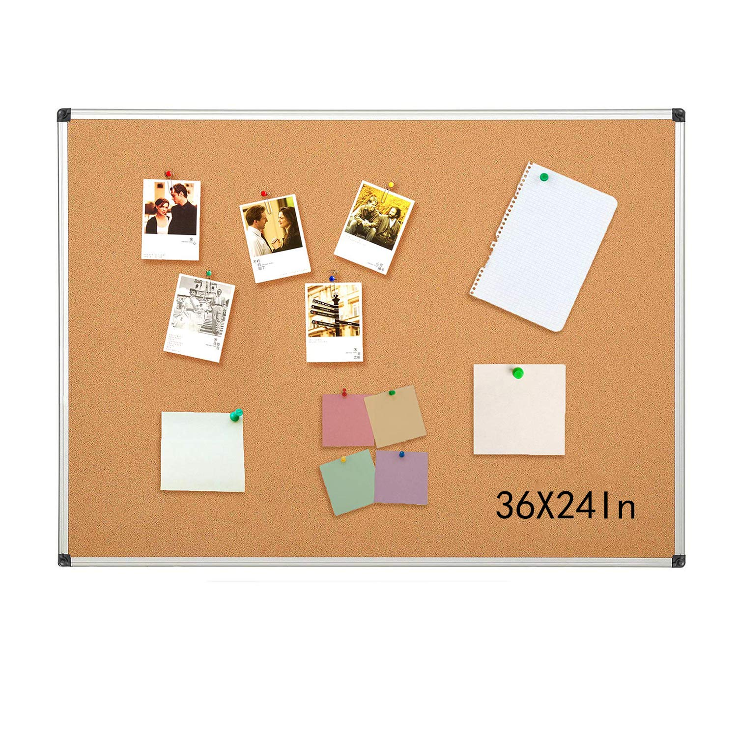 Aluminum Frame Bulletin Board 48 x 36 Inches, Display Organization Cork Board, Thicken and Reinforce, 2 Pack