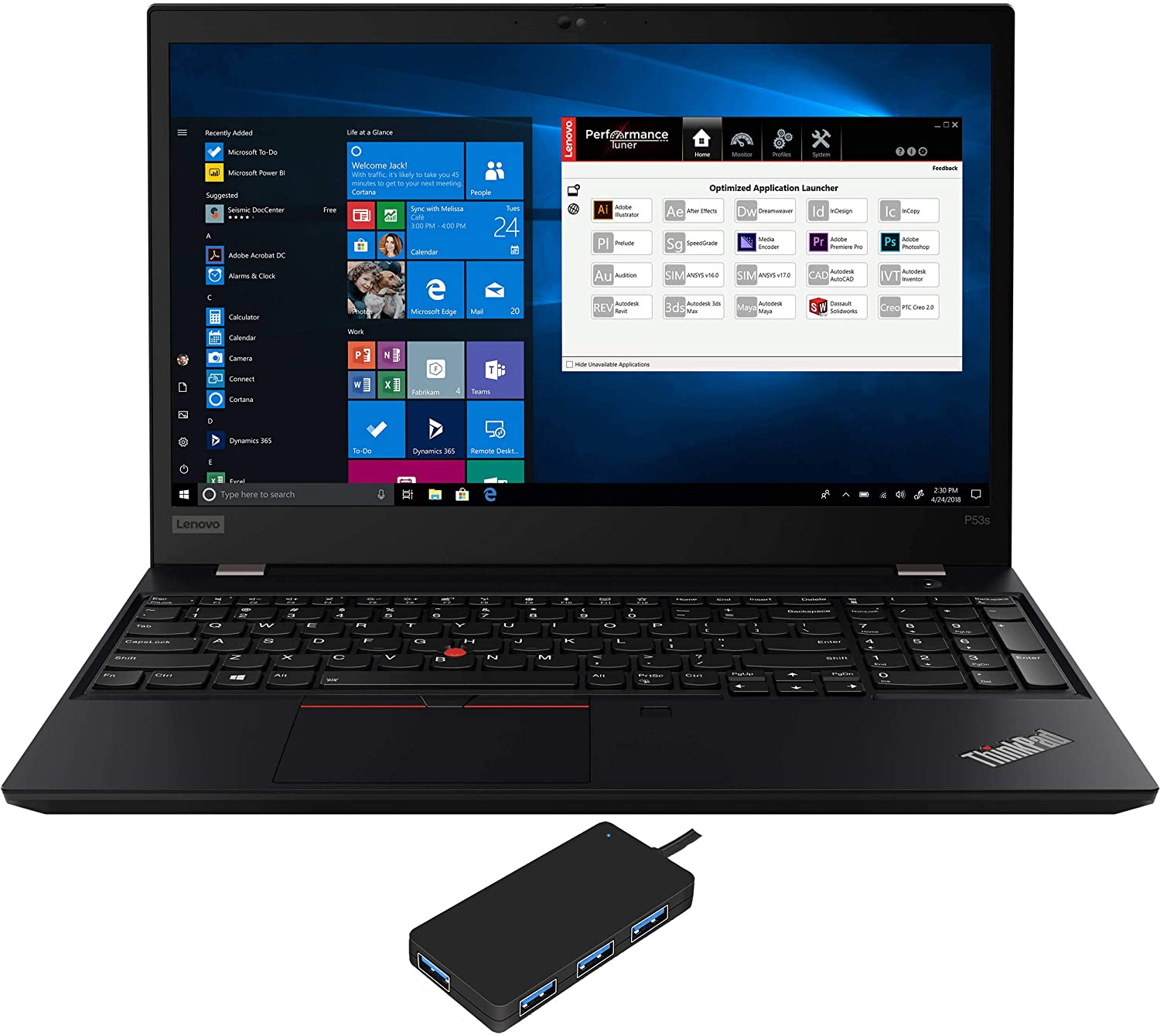 "Lenovo ThinkPad P53s Workstation Laptop (Intel i7-8565U 4-Core, 40GB RAM, 1TB m.2 SATA SSD, Quadro P520, 15.6"" Full HD (1920x1080), Fingerprint, WiFi, Bluetooth, Webcam, Win 10 Pro) with USB3.0 Hub"