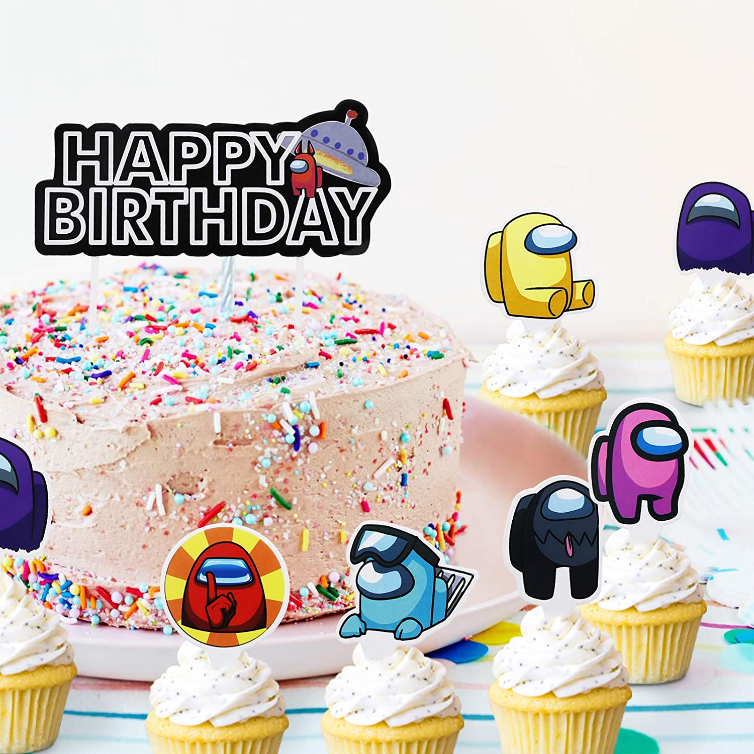 Among Us Cupcake Toppers for Kids Boys Girls Anniversary Party Decor 25 Pack Among Us Cake Topper Happy Birthday Party Decorations