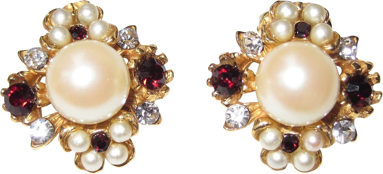 Pendientes de clip, perlas blancas, piedras de granate, piedras pequeñas de estrás, decorativas, plata chapada en oro, hecho a mano, retro, vintage, aspecto antiguo, regalo único