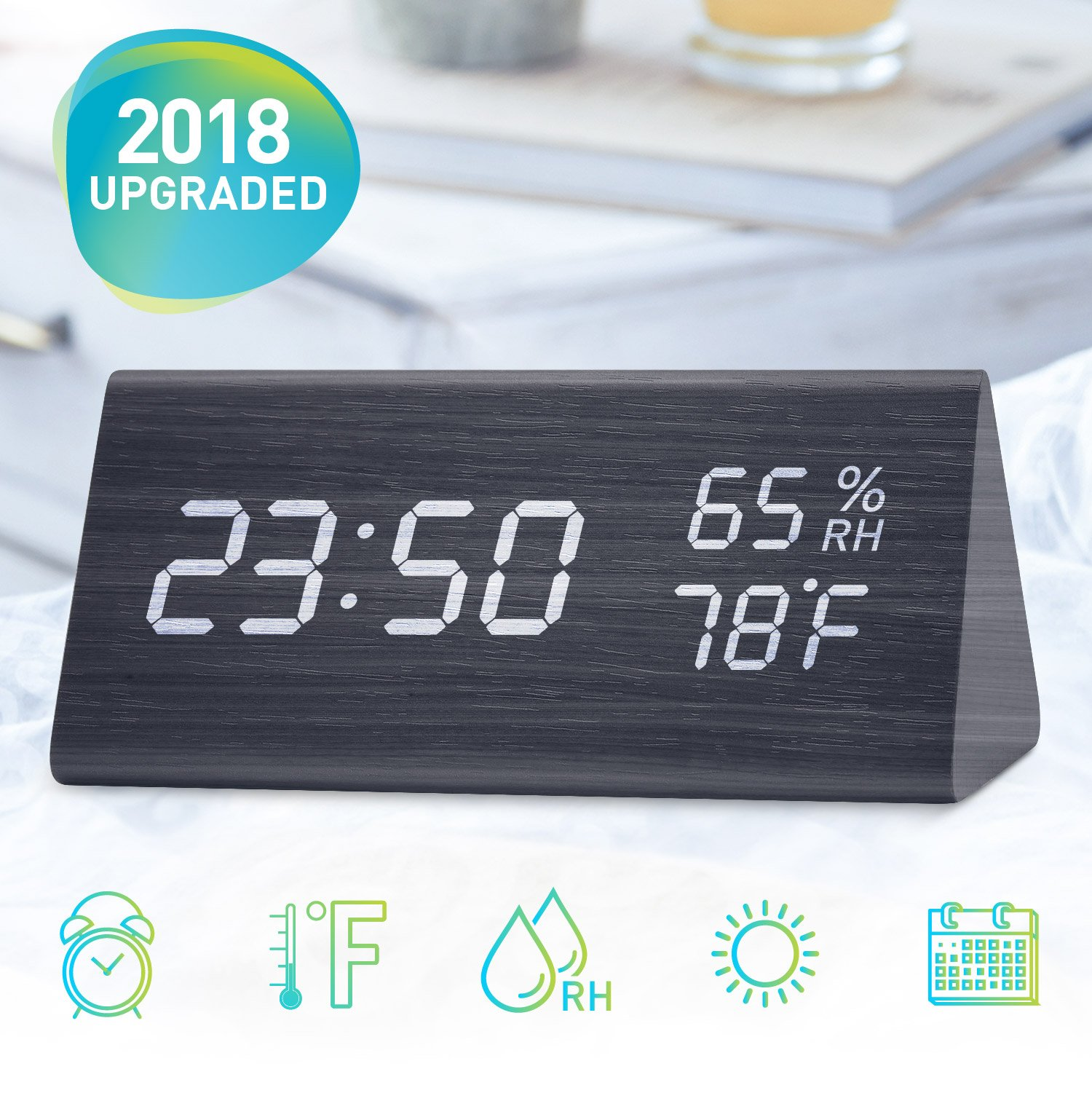 Wooden LED Digital Alarm Clock with Time, Temperature and Humidity Display, Digital Desk Clock for Bedroom with 3 Levels Brightness, 3 Alarm Settings and Sound Contral