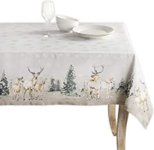 Maison d' Hermine Deer in The Woods 100% Cotton Tablecloth for Kitchen Dining | Tabletop | Decoration | Parties | Weddings | Thanksgiving/Christmas (Square, 54 Inch by 54 Inch).