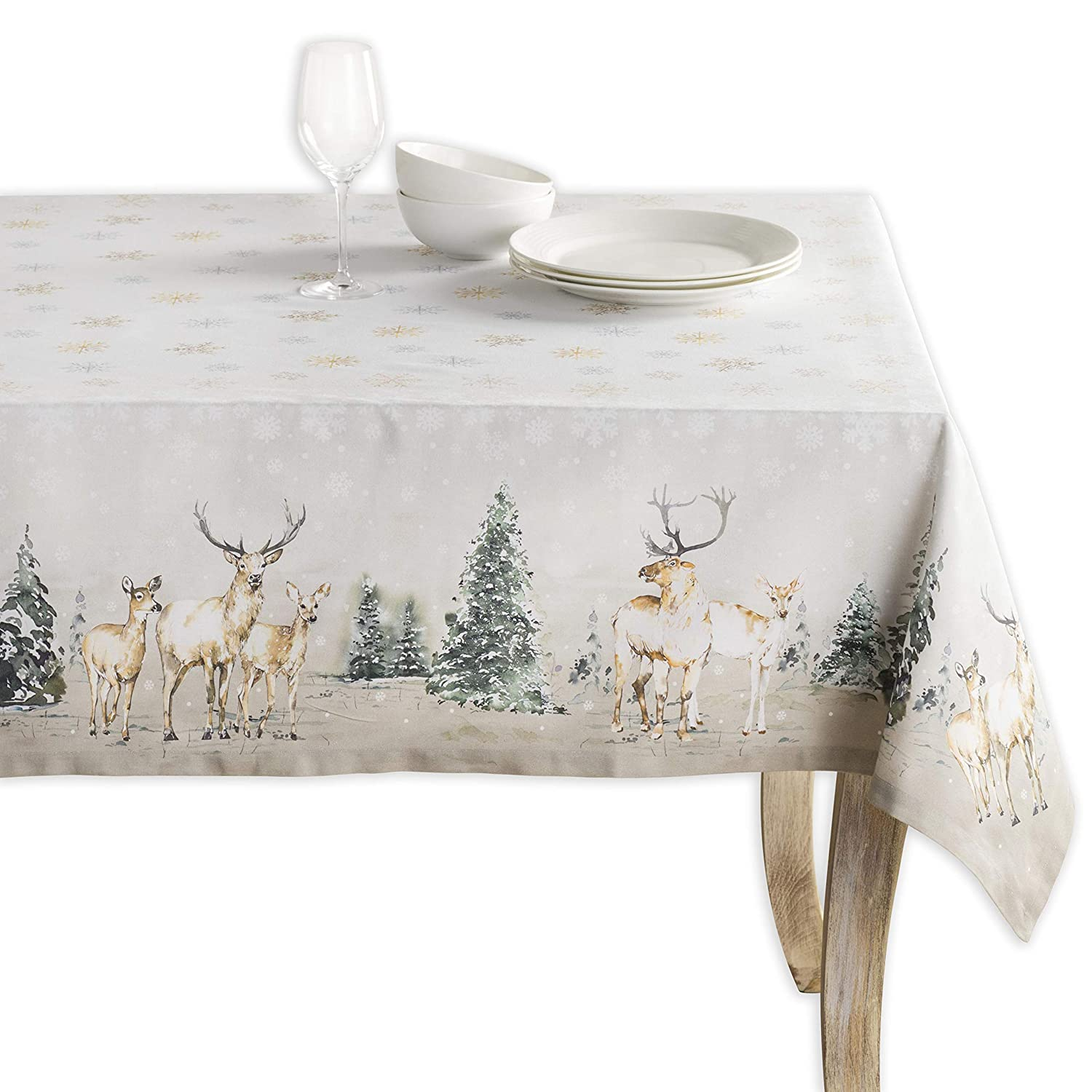 Maison d' Hermine Deer in The Woods 100% Cotton Tablecloth 60 Inch by 108 Inch.