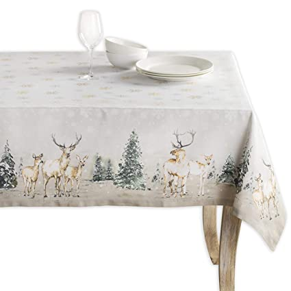 Maison d' Hermine Deer in The Woods 100% Cotton Tablecloth 60 Inch by 108 Inch. Perfect for Thanksgiving and Christmas best Christmas tablecloths