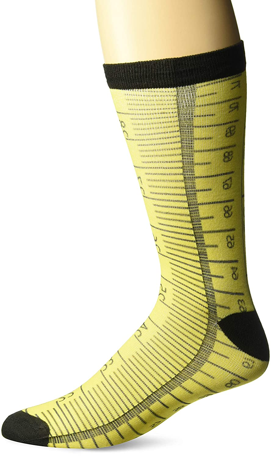 Sock Pair Polyester CREW Buckle-Down Inc SCK-PE-W33940-CREW Measuring Tape Yellow//Black//Red