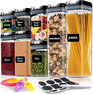 8 Pc Airtight Food Storage Container Set - Kitchen & Pantry Organization Containers - Labels, Marker & Spoon - BPA-Free - Clear Plastic Canisters with Lids for Flour, Cereal