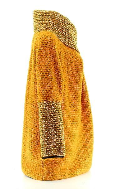 cf1dea06320f Charleselie94® - Manteau Cape Laine Bouillie Hiver Grande Taille Jaune  Moutarde Violetta Jaune  Amazon.fr  Vêtements et accessoires