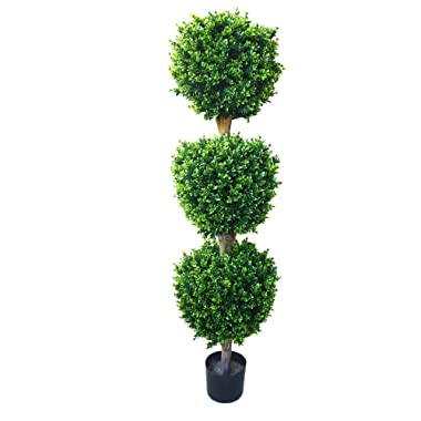 Pure Garden 5 Foot Artificial Hedyotis – Large Faux Potted Topiary Plant for Indoor or Outdoor Decoration at Home, Office, or Restaurant