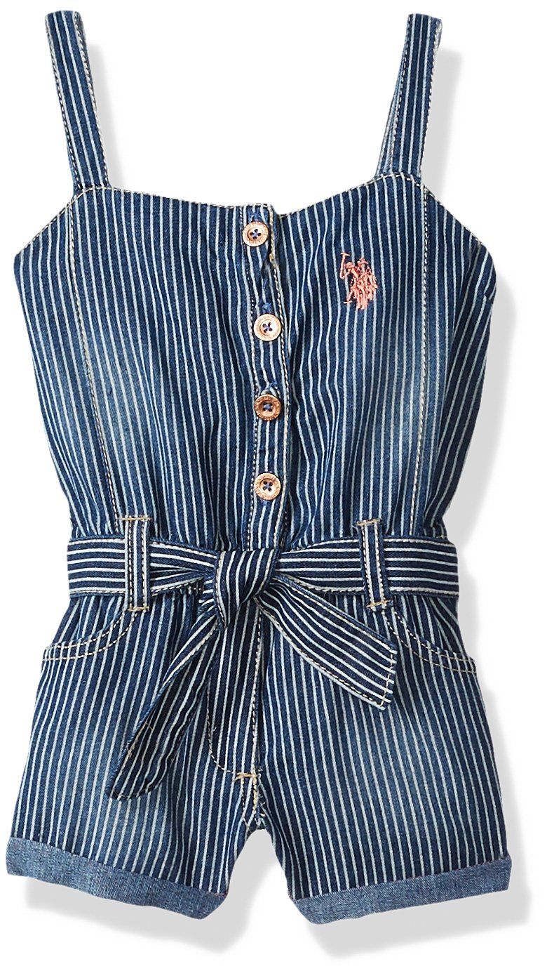 U.S. Polo Assn. Girls' Toddler Romper, Forever Blue Denim Stripes Multi, 2T by U.S. Polo Assn.