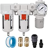 NANPU 1/2' NPT Air Drying System - Double Air Filters (5 Micron Brass Element), Air Pressure Regulator Combo - Semi-Auto…