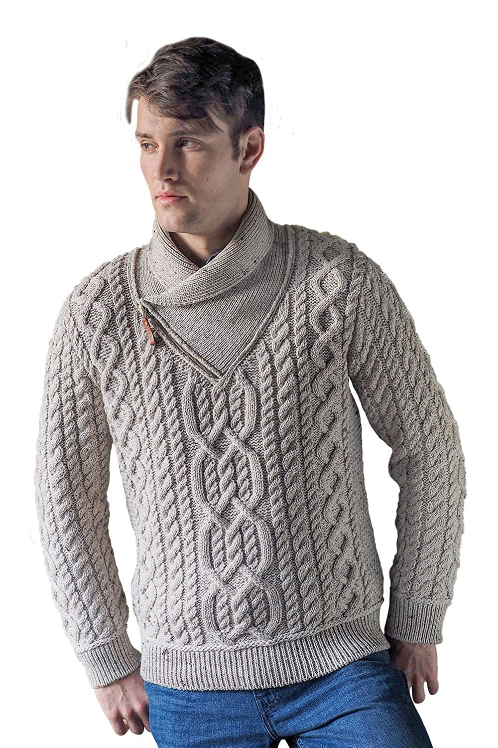 West End Irish Shawl Wool Sweater with Zip Neck Large, Green