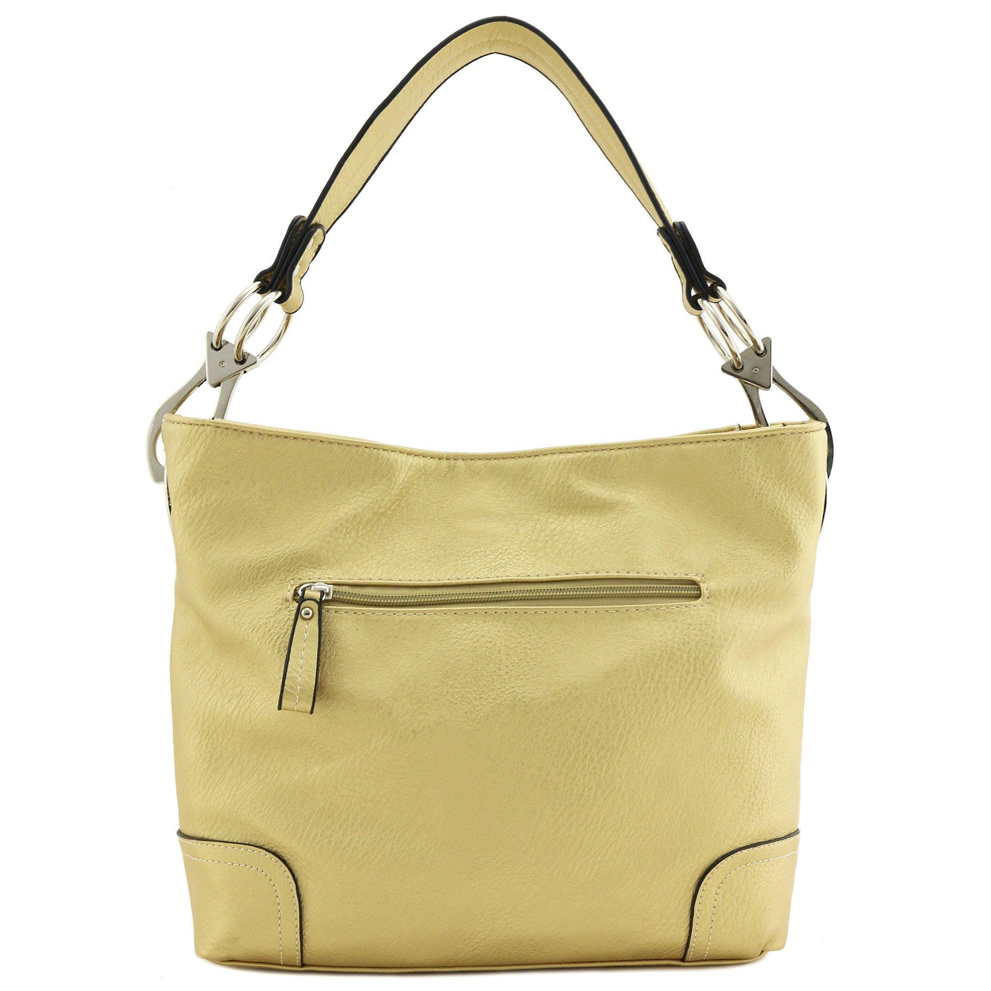 Hobo Shoulder Bag with Big Snap Hook Hardware (Gold) by Alyssa (Image #5)