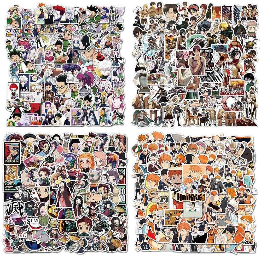 Anime Collection Sticker 100pcs Hunter x Hunter/Demon Slayer/Attack on Titan/Haikyuu!! Vinyl Skateboard Guitar Sticker Laptop Luggage Bicycle Waterproof Stickers (100pcs) (100pcs Demon Slayer)